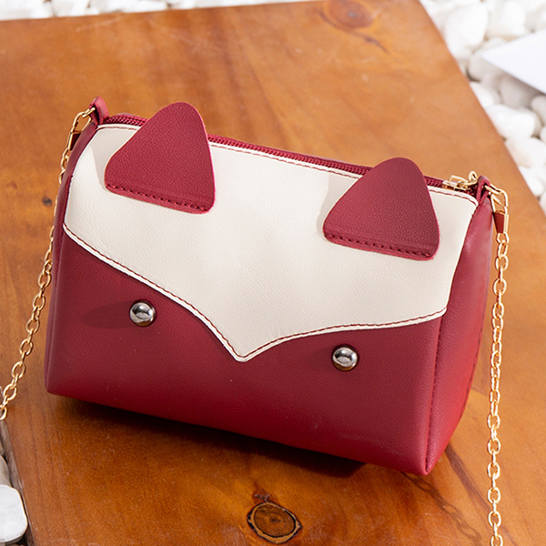 Retro Cute Kitten Style Chain Messenger Bags - Red