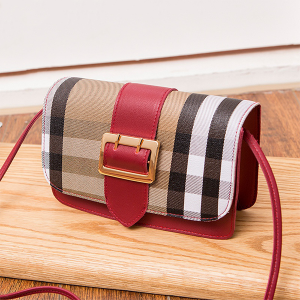 Check Prints Buckle PU Messenger Bags - Red