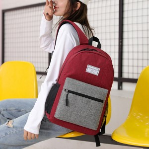 Zipper Closure Plain Mesh Pattern Backpacks - Red