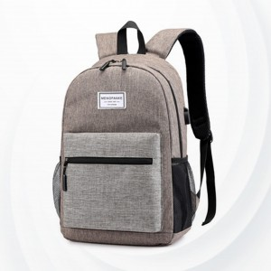 Zipper Closure Plain Mesh Pattern Backpacks - Khaki