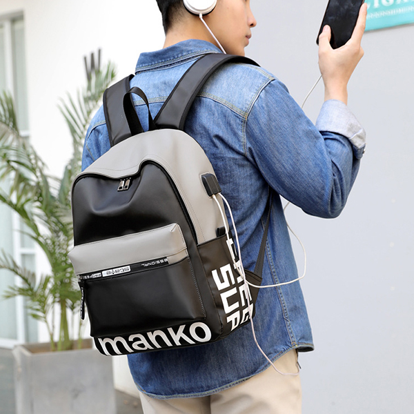 Zipper Smart Student Casual Canvas Backpacks - Grey