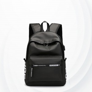 Zipper Smart Student Casual Canvas Backpacks - Black