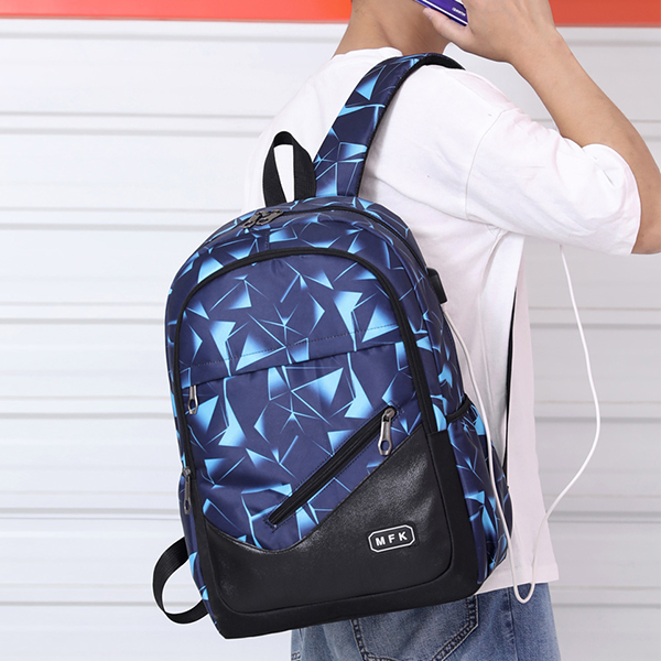 Geometric Pattern Zipper Closure Backpack - Blue
