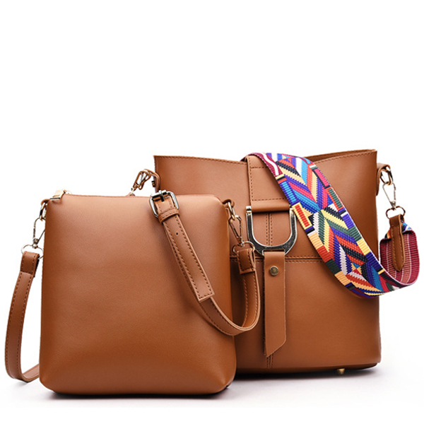 Classic Stitching Handbag Two Pieces Portable Shoulder Bag Brown