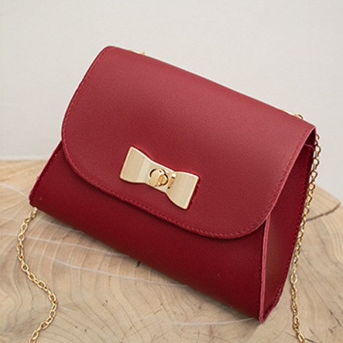 Bow Patched Twist Lock Chain Messenger Bags - Red