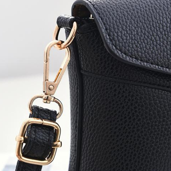 Black PU Messenger Bag For Women