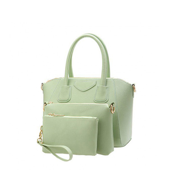 Cow Leather 3 Pieces Simple Style Handbag With A Strap Green
