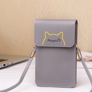 Casual Cat Outline Vertical Shoulder Bags - Grey