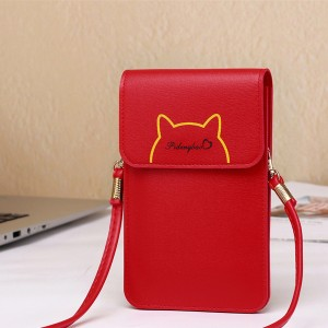 Casual Cat Outline Vertical Shoulder Bags - Red