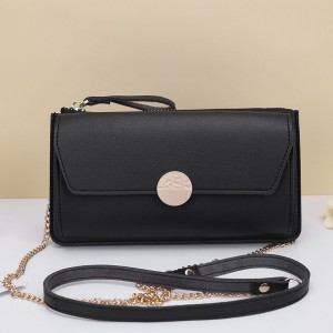 Zipper Closure With Flap Chain Shoulder Bags - Black
