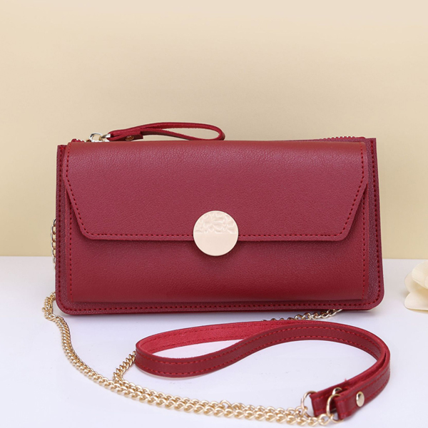 Zipper Closure With Flap Chain Shoulder Bags - Red