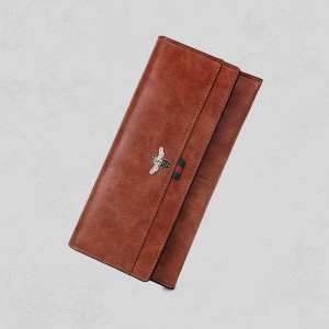 Bug Patched Foldable Card And Money Wallet - Brown