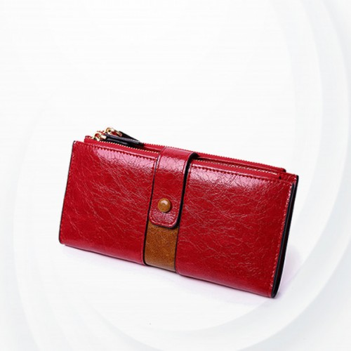 Zipper Closure Synthetic Leather Female Money Wallet - Red