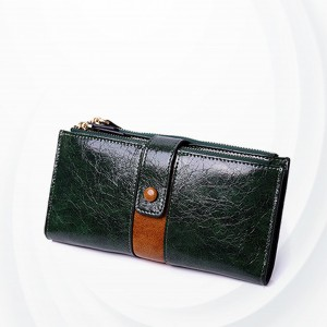 Zipper Closure Synthetic Leather Female Money Wallet - Green