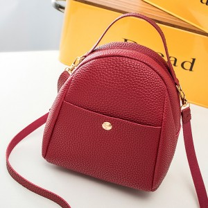 Leather Texture Zipper Mini Shoulder Bags - Red