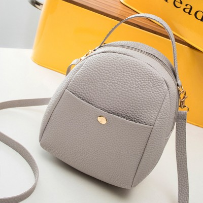 Leather Texture Zipper Mini Shoulder Bags - Grey