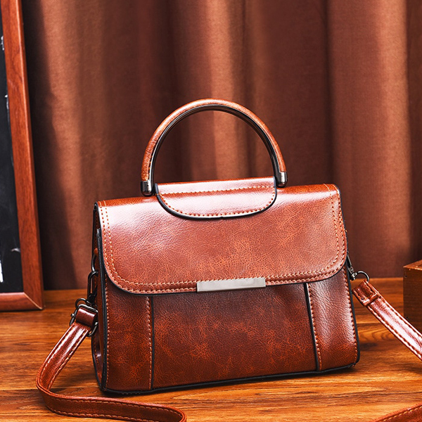 Leather Textured Magnetic Lock Messenger Bags - Brown