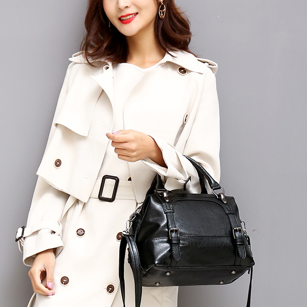 Buckle Style Straps Leather Shoulder Bags - Black