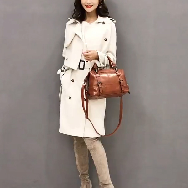 Buckle Style Straps Leather Shoulder Bags - Brown