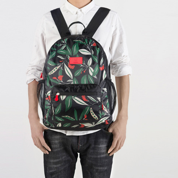 983196592f Printed Colorful Leaves Nylon Student Backpacks