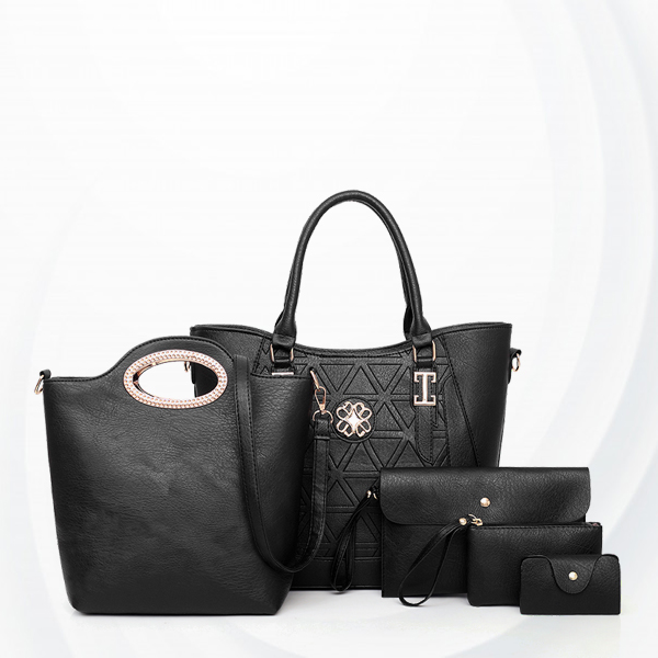 PU Leather Five Pieces Handbags Set - Black