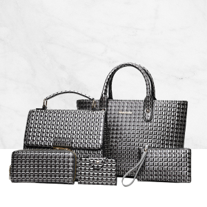 5 Pieces Embossed Bag Set Elegant Women Package Gray