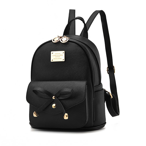 Bow Patch Synthetic Leather Mini Backpacks - Black
