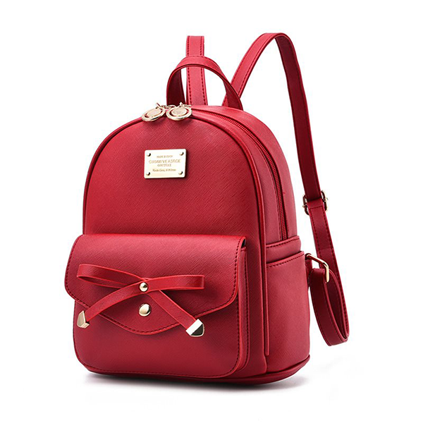 Bow Patch Synthetic Leather Mini Backpacks - Red