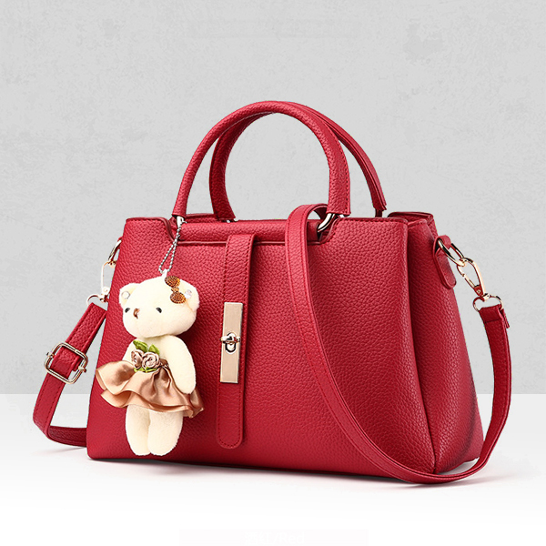 Bear Hanging PU Leather Crossbody Bags - Red