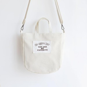 Text Prints Happy Canvas Summer Bags - White