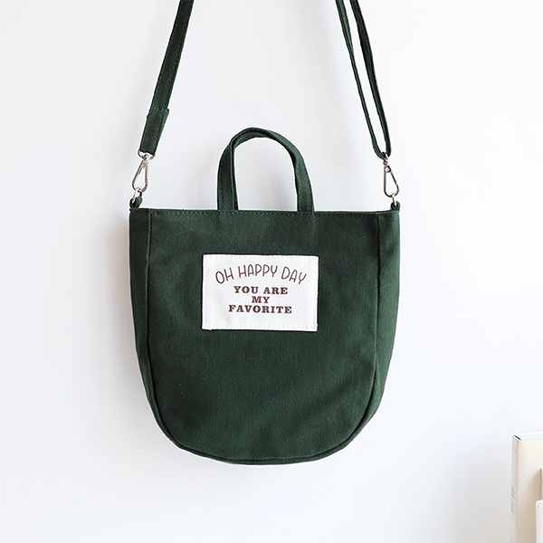 Text Prints Happy Canvas Summer Bags - Green