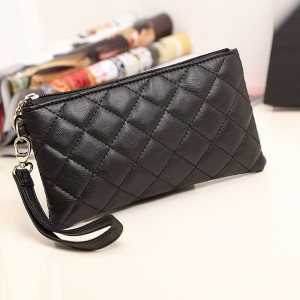 Square Zipper Patchwork Pattern Wristlet - Black