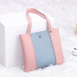 Textured Contrast PU Leather Shoulder Bags - Pink