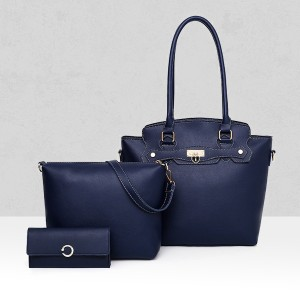 Three Pieces PU Trendy Handbags Set - Dark Blue