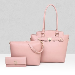 Three Pieces PU Trendy Handbags Set - Pink