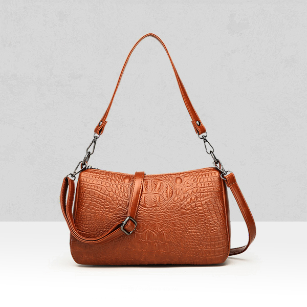 Quality Crocodile Textured Shoulder Bags - Brown