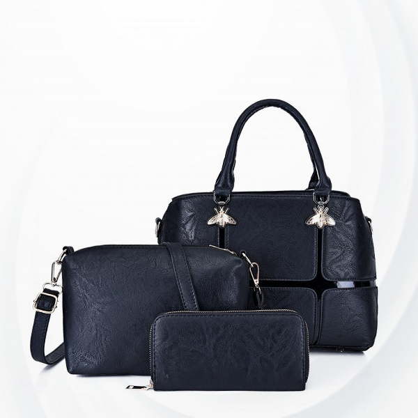 Three Pieces Bugs Patch Designers Handbags Set - Black