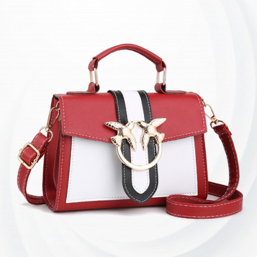 Birds Synthetic Leather Messenger Bags - Red