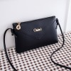 Zipper Closure Synthetic Leather Messenger Bags - Black