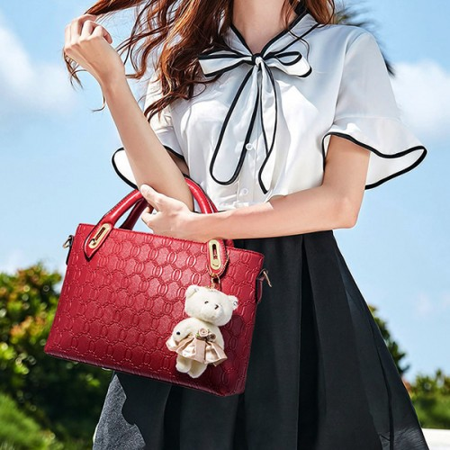 Bear Hanging Women Fashion Four Pieces Handbags Set - Red