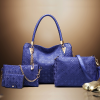 4 Pieces PU Leather Fashionable Shoulder Purse For Women Blue