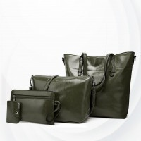Shiny Synthetic Leather Four Pieces Handbags Set - Green