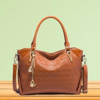 Butterfly Pendant Synthetic Leather Women Handbags - Brown
