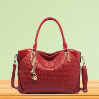 Butterfly Pendant Synthetic Leather Women Handbags - Red