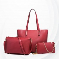 Solid Pattern Large Capacity Three Piece Handbags Sets - Red