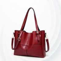 Synthetic Leather Female Handbags - Red