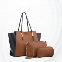 Three Pieces Trendy Fashion Handbags Set - Brown