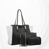 Three Pieces Trendy Fashion Handbags Set - Black