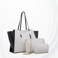 Three Pieces Trendy Fashion Handbags Set - White