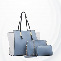 Three Pieces Trendy Fashion Handbags Set - Blue